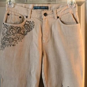 Cute Ralph Lauren Tan Jeans with Design 2P